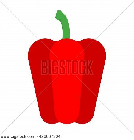 Geometric Style Paprika. Red Bell Pepper. Minimalistic Red Pepper With Green Pedicel, Side View. Abs