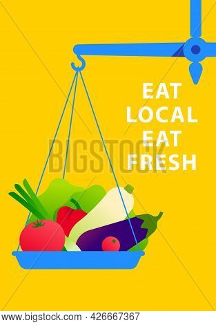 Healthy Organic Food Concept. Fresh Vegetables On The One Scales Bowl. Gold Scales Balance With Loca