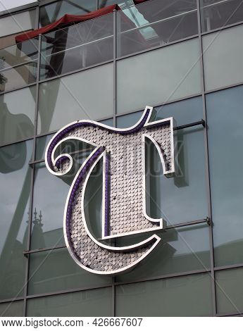 Leeds, West Yorkshire, United Kingdom - 7 July 2021: The Logo Above The Entrance Or The Trinity Shop