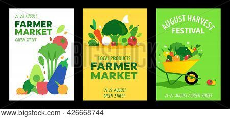 Farmer Market, Local Products And Harvest Festival Posters. Set Of Colorful Vector Vegetables Compos