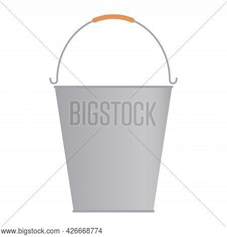 Empty Metal Bucket. Farm Household Bucket. Vector Illustration, Gradient. Design Element, Template.