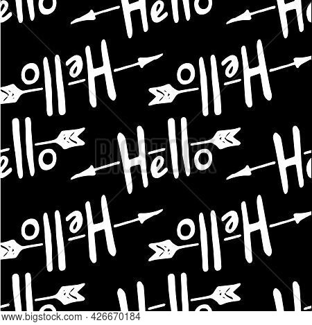 The Vector Pattern Of The Word Hello With An Arrow In Different Directions Is Geometrically Arranged