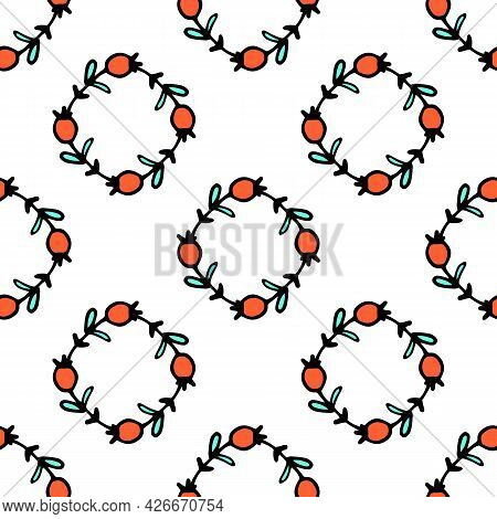 Vector Seamless Pattern Of A Rhombus Of Red Berries And Turquoise Leaves.a Pattern Of Geometrically