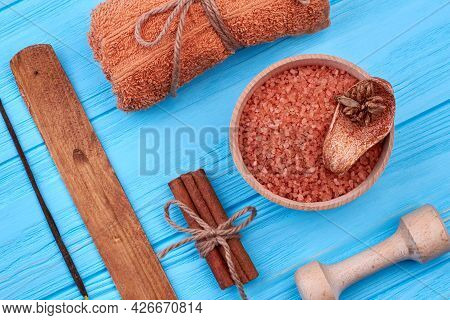 Set Of Brown Accessories For Spa And Healthy Lifestyle.