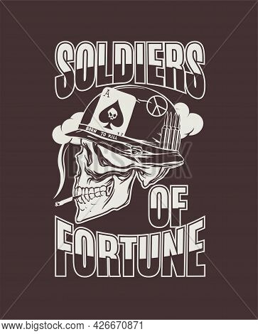 Hand Drawing Of A Skull In A Helmet Of An American Soldier During The Vietnam War With The Inscripti