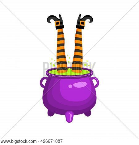 Witch Legs Sticking Out Of Cauldron With Green Bubbling Liquid Or Magic Potion. Halloween Design Ele