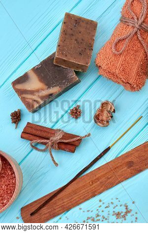 Aromatic Spa Items On Blue Wood Vertical Shot.