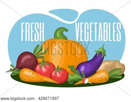 Concept With Vegetables. Healthy Eating. Vector Illustration. Fresh Vegetables Design Template. Vect