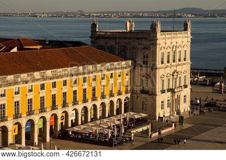 Lisbon, Portugal - February 16, 2017: Aerial View Of The Comercio Square Of Lisbon Since Rua Augusta