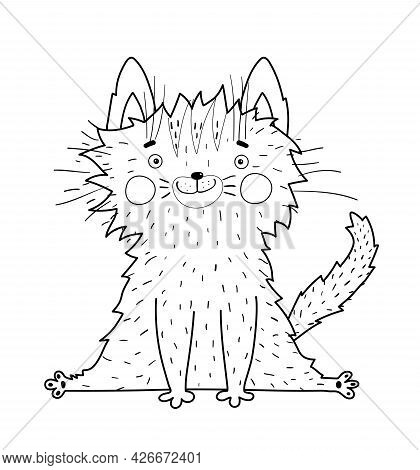 Cute Hand Drawn Outline Baby Kitten For Kids Coloring Book. Cat Adorable Pet Animal For Children Doo