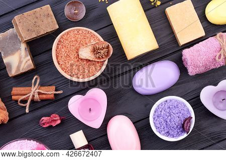 Spa Treatment Accessories Top View Flat Lay.