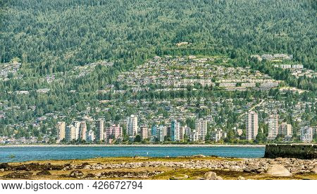 View Of Vancouver West On Mountain Slope Over Burrard Inlet