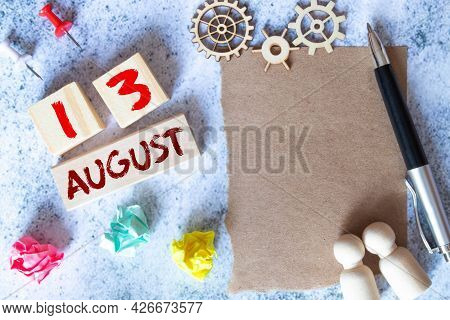 August 13Th. Image Of August 13 Wooden Color Calendar On Blue Background. Summer Day