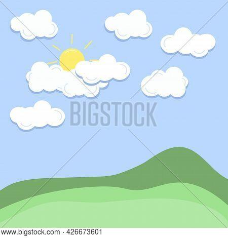 Cloud, Sun And Hill Summer Landscape. Blue Sky, Grassland Background. Cartoon Vector Illustration