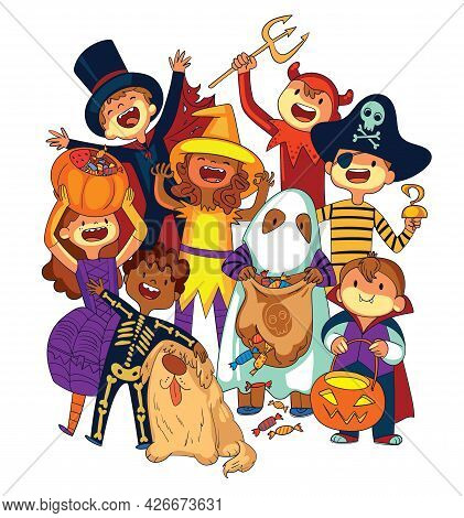 Children In Halloween Costumes. Trick Or Treat. Funny Cartoon Character. Vector Illustration. Isolat