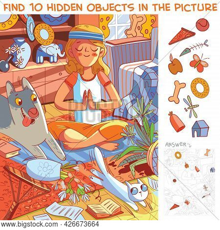 Girl Does Yoga While Her Pets Destroy The House. Find 10 Hidden Objects In The Picture. Puzzle Hidde