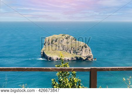 Landscape Of The Cantabrian Sea Blurring The Horizon From The Viewpoint Of San Juan De Gastelugatxe