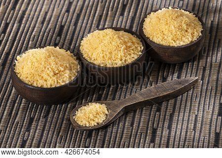 Japanese Panko Bread In Crumbs In Three Wooden Bowls - Healthy Food
