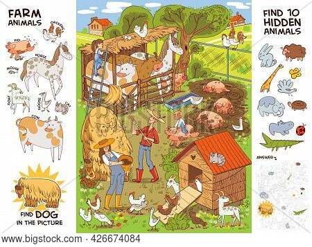 Farm Life And Farm Animals. Find All Farm Animals. Find 10 Hidden Objects In The Picture. Puzzle Hid