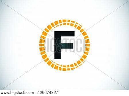 Initial F Monogram Letter Alphabet In An Abstract Sunburst Circle. Font Emblem. Sunburst Icon Sign S