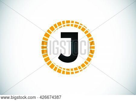 Initial J Monogram Letter Alphabet In An Abstract Sunburst Circle. Font Emblem. Sunburst Icon Sign S