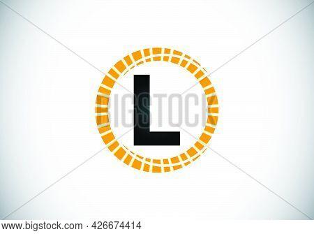 Initial L Monogram Letter Alphabet In An Abstract Sunburst Circle. Font Emblem. Sunburst Icon Sign S