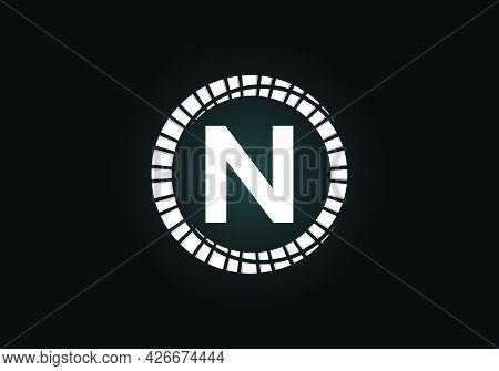 Initial N Monogram Letter Alphabet In An Abstract Sunburst Circle. Font Emblem. Sunburst Icon Sign S