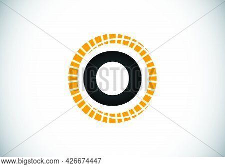 Initial O Monogram Letter Alphabet In An Abstract Sunburst Circle. Font Emblem. Sunburst Icon Sign S