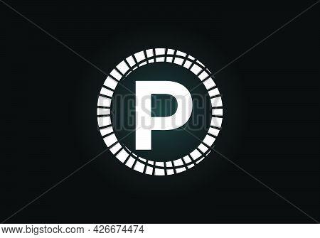Initial P Monogram Letter Alphabet In An Abstract Sunburst Circle. Font Emblem. Sunburst Icon Sign S