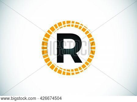 Initial R Monogram Letter Alphabet In An Abstract Sunburst Circle. Font Emblem. Sunburst Icon Sign S