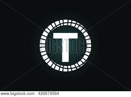 Initial T Monogram Letter Alphabet In An Abstract Sunburst Circle. Font Emblem. Sunburst Icon Sign S