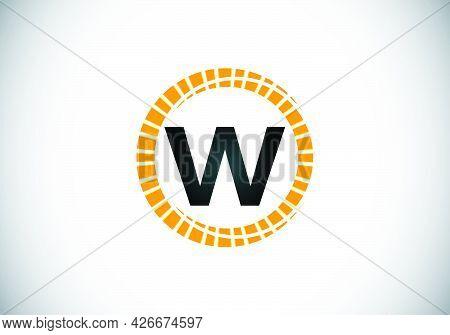 Initial W Monogram Letter Alphabet In An Abstract Sunburst Circle. Font Emblem. Sunburst Icon Sign S