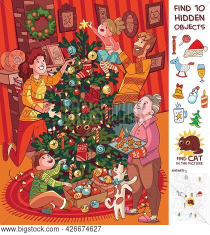 Family Decorates Christmas Tree. Find Cat. Find 10 Hidden Objects In The Picture. Puzzle Hidden Item