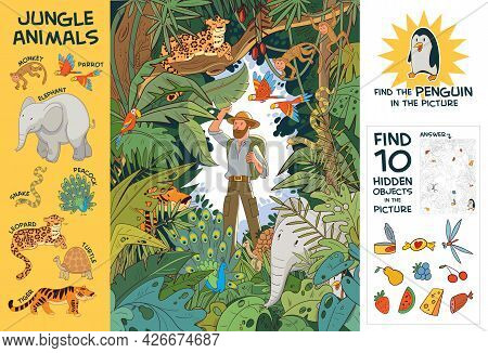 Explorer In Indian Jungle Stands Among Hidden Animals. Find All Animals In Picture. Find 10 Hidden O