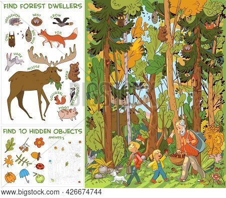 Grandfather And Grandchildren And Dog Go To Forest For Mushrooms. Find All Animals In Picture. Find