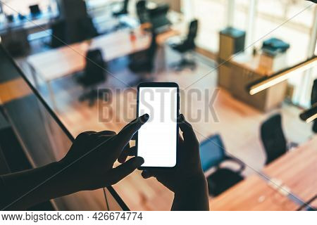 Blank Phone Screen Mockup, Screen Image Or Text Copy With Office Defocused Background. Mobile Applic