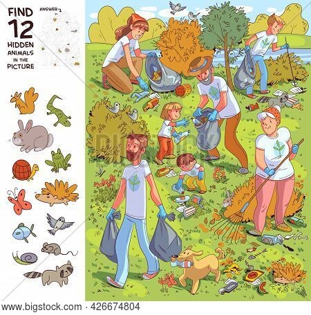 Family Collects Garbage On Nature. Find All The Animals In The Picture. Find 12 Hidden Objects In Th
