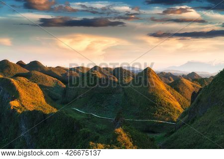 Side View Osmena Peak Cebu Philippines During Golden Hour With Soft Colorful Cloud Background