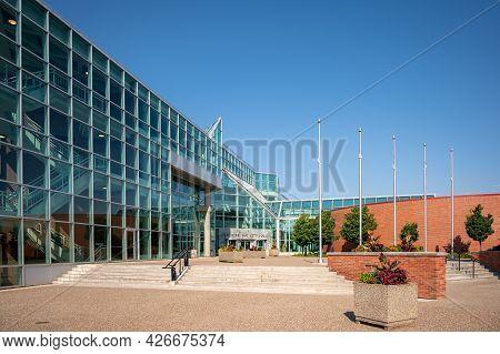 Medicine Hat, Alberta - July 11, 2021:  Exterior Facade Of City Hall On A Warm Summer Day.