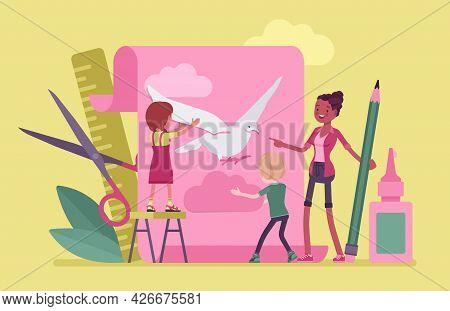 Kindergarten Paper Craft, Art Class Decoration, Cardboard Design. Female Teacher With Preschool Kids