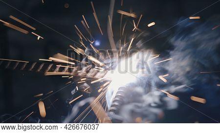 Closeup Worker Man Using Electric Arc Welding Machine To Weld Steel By Manual Skill Labor, Metal Wel