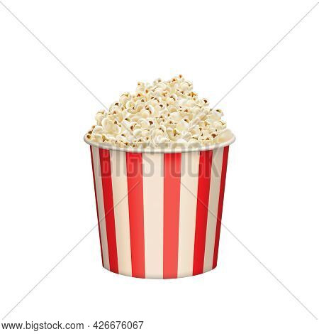 Popcorn Round Bucket Cup. Realistic Vector Cinema Heaped Pop Corn Paper Bowl Red White Box. Movie Sn