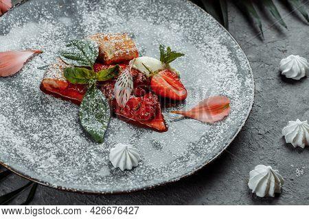 Grilled Fruit Pizza With Fresh Strawberries. Best Summer Dessert