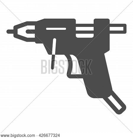 Glue Gun Solid Icon, Construction Tools Concept, Hot Melt Glue Gun Vector Sign On White Background,