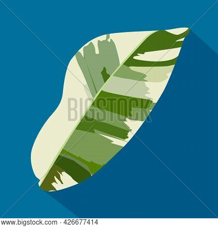 Green Tropical Heliconia Leaves  On Blue Background. Hand Drawn.