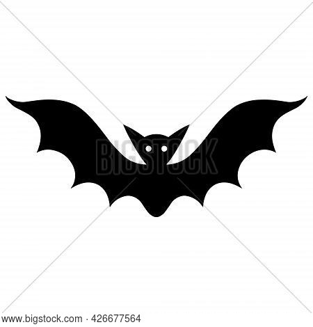 Bat Vector Icon. Isolated Illustration On A White Background. Black Silhouette Of A Night Bloodsucke