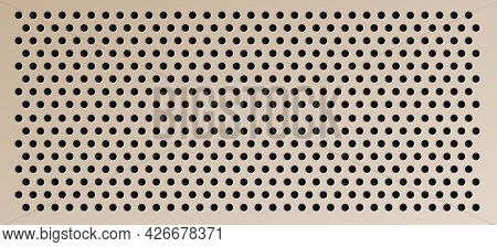Peg Board With Round Holes. Brown Rectangle Peg Board Perforated Texture Background For Working Benc