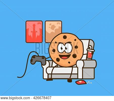 Cute Cookies Snack Cartoon Character Mascot As Gamer Playing Video Games Console On Couch Graphic Ve