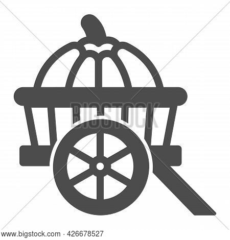 Pumpkin In Cart Solid Icon, Vegetable Crop Concept, Pumpkin In Wagon Vector Sign On White Background