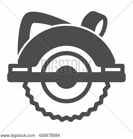 Circular Saw Solid Icon, Construction Tools Concept, Electric Circular Saw Vector Sign On White Back